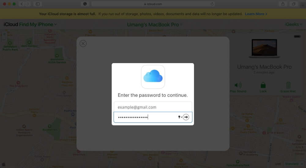 Enter Apple ID Password to Confirm and Remove Mac using iCloud
