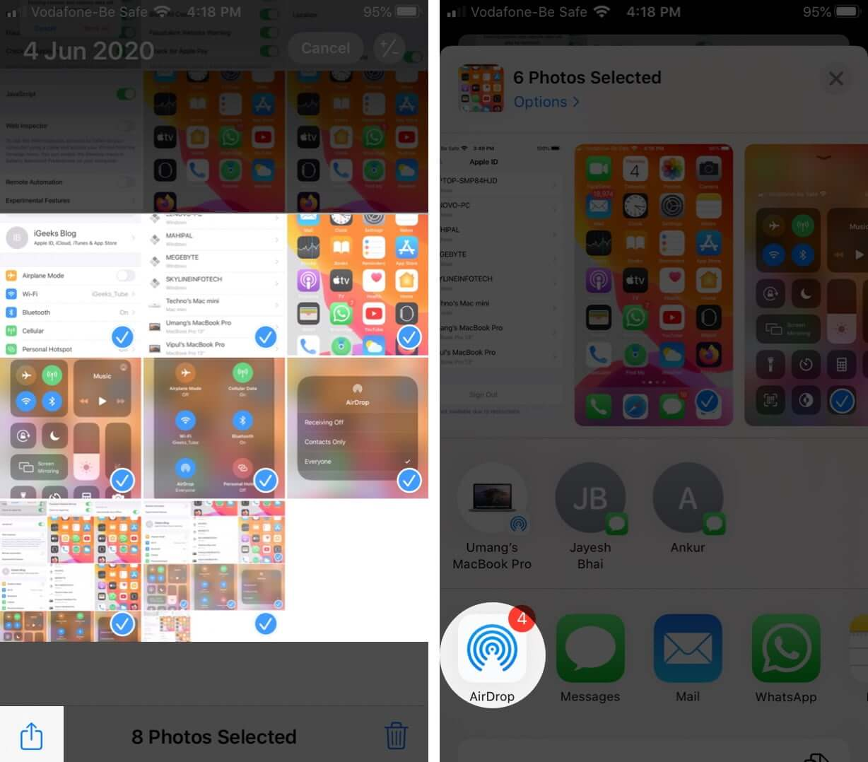 Select Images Tap on Share and Then Tap on AirDrop