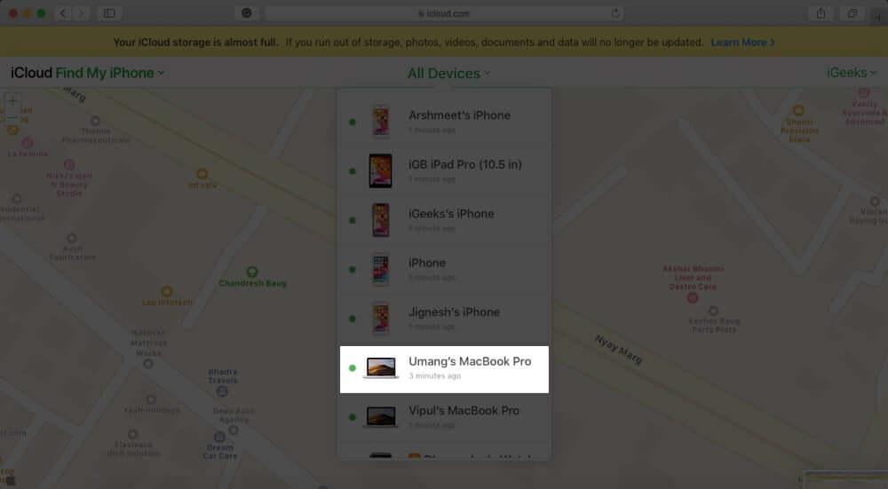 Select Mac in Find My iPhone in iCloud Website