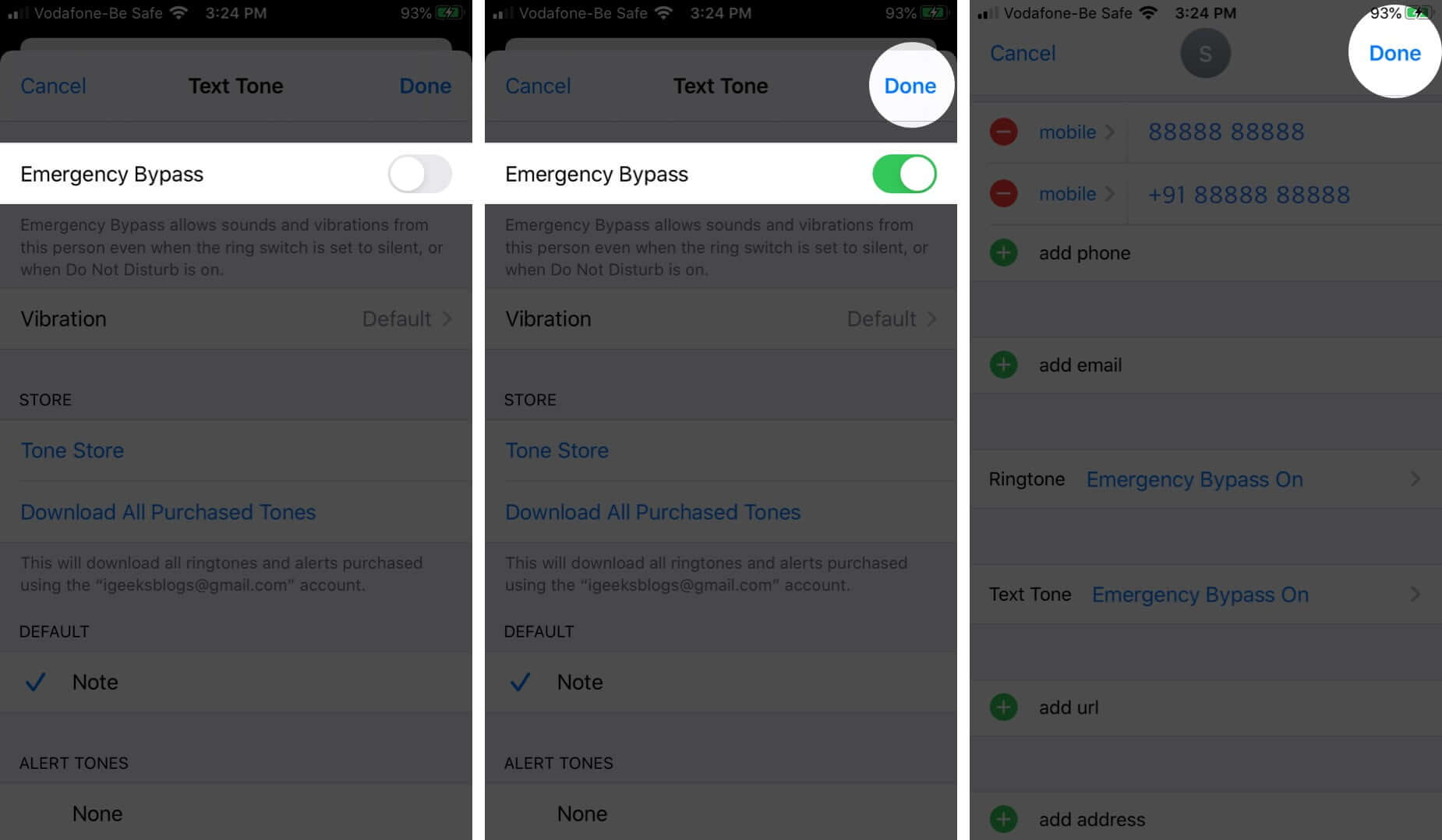 Turn ON Emergency Bypass for Texts on iPhone or iPad