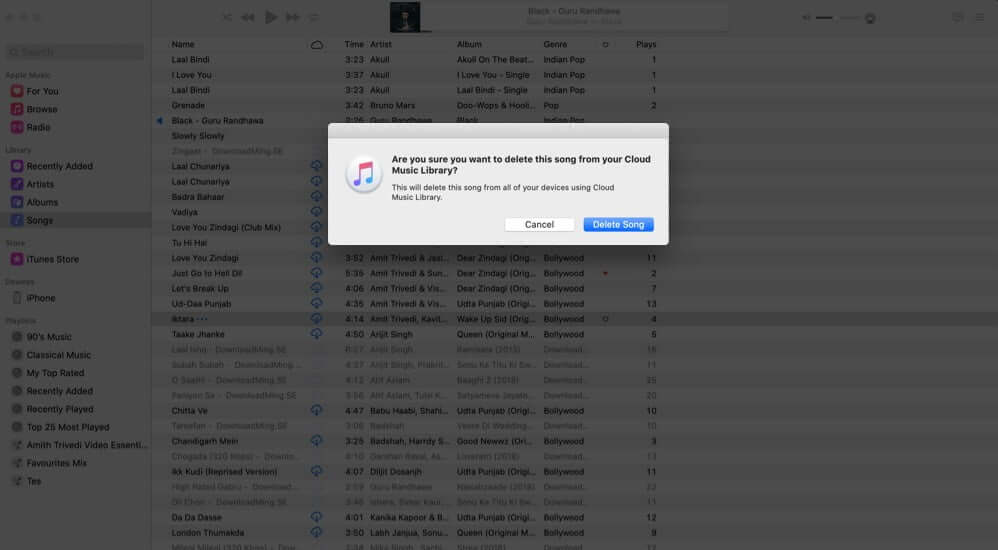 click on delete song to remove songs added to apple music library on mac