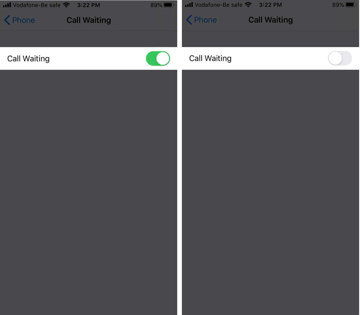 Disable call waiting on iPhone
