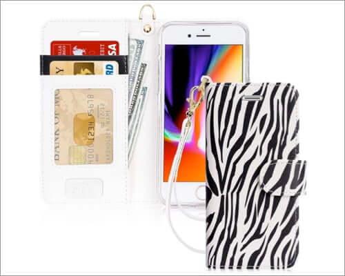 fyy luxury leather folio case for iphone se 2020