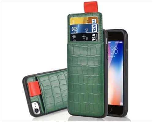 lameeku crocodile pattern iphone se 2020 wallet case