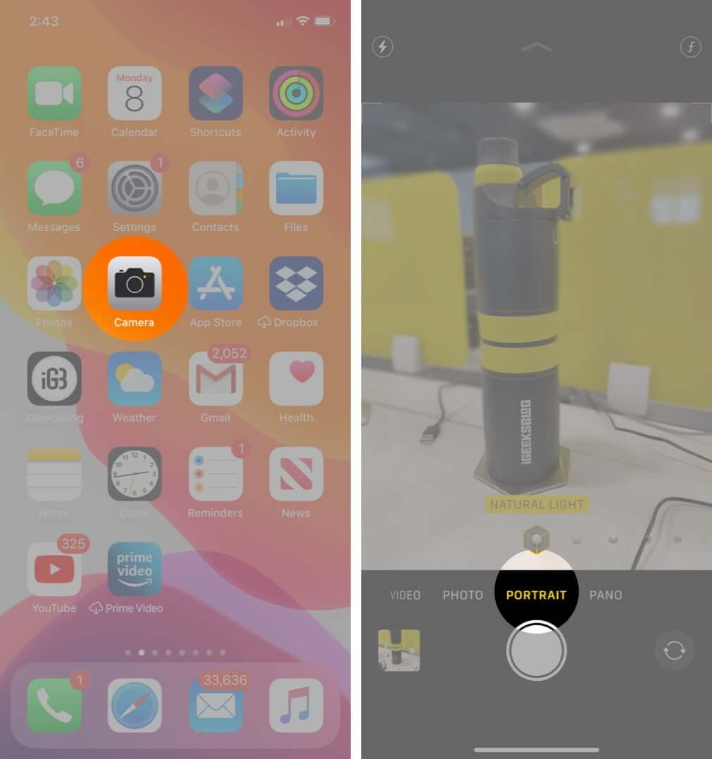 open camera app and select portrait mode on iphone