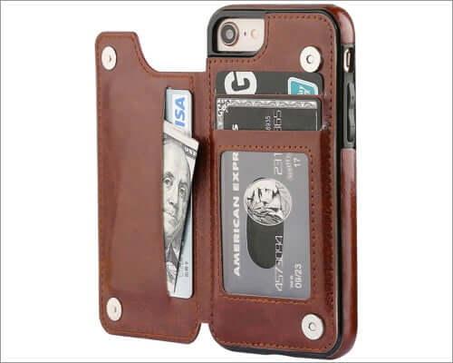 ot onetop iphone se 2020 leather wallet case