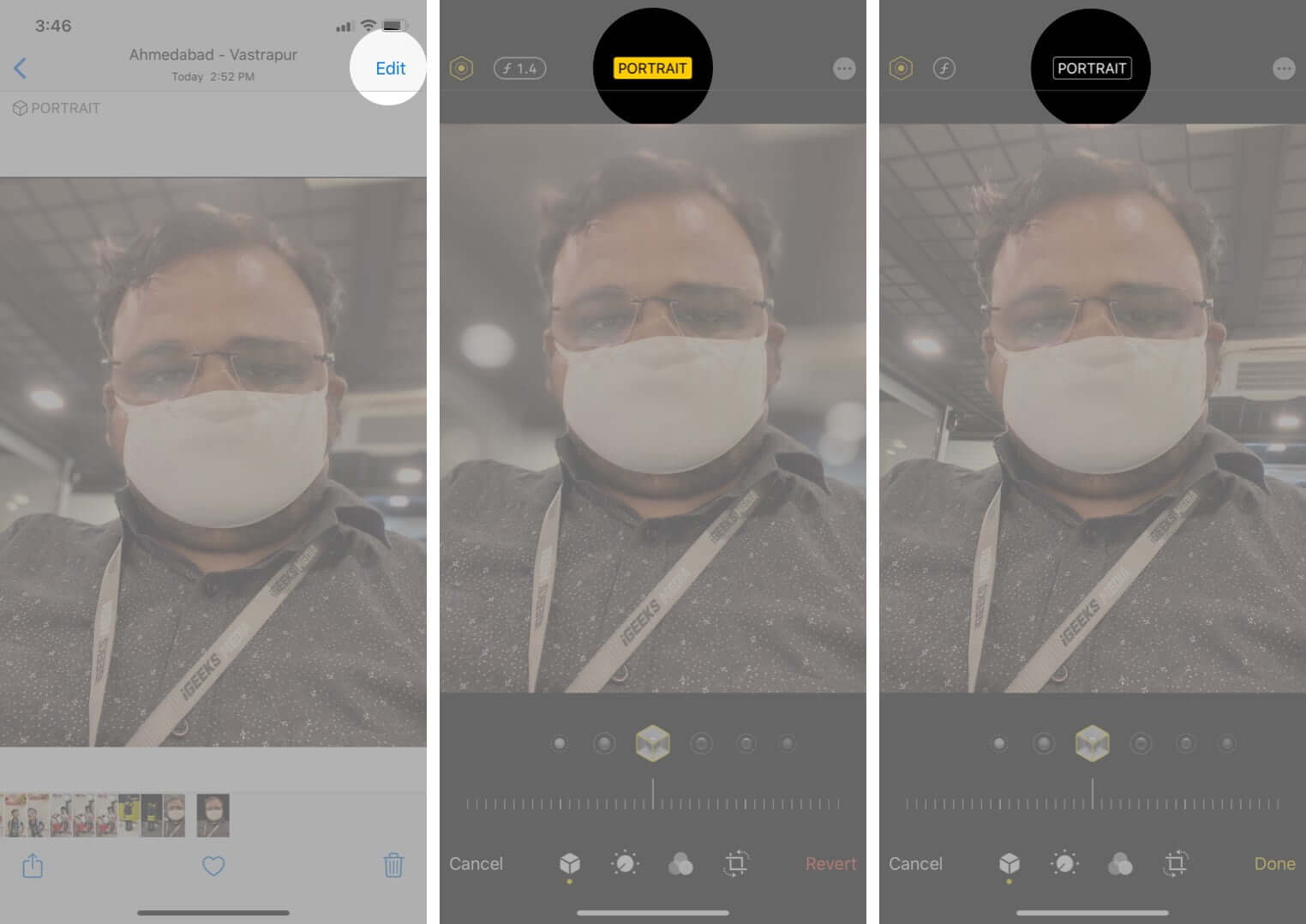 remove portrait mode effect from photos on iphone