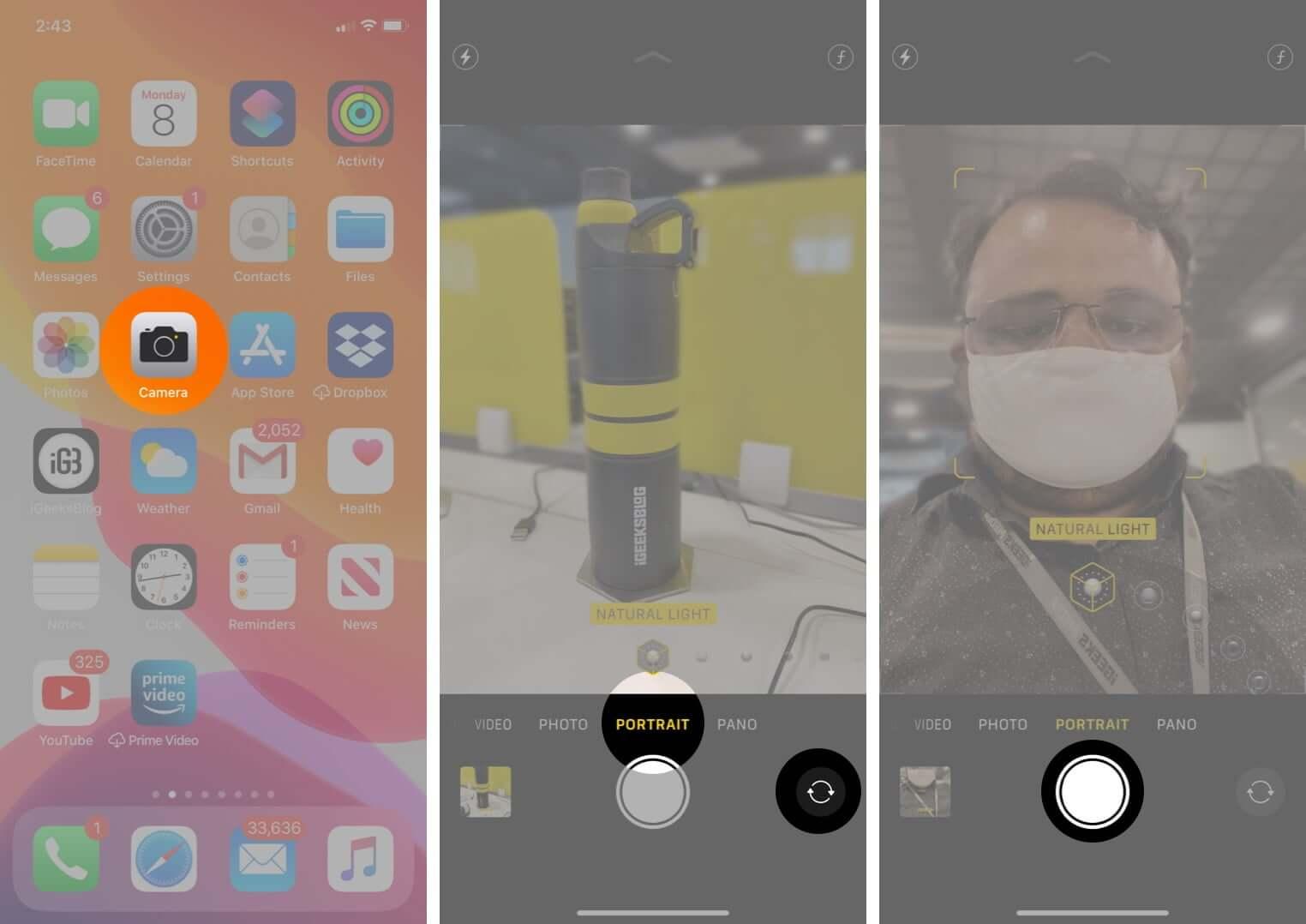 take portrait mode selfie on iphone