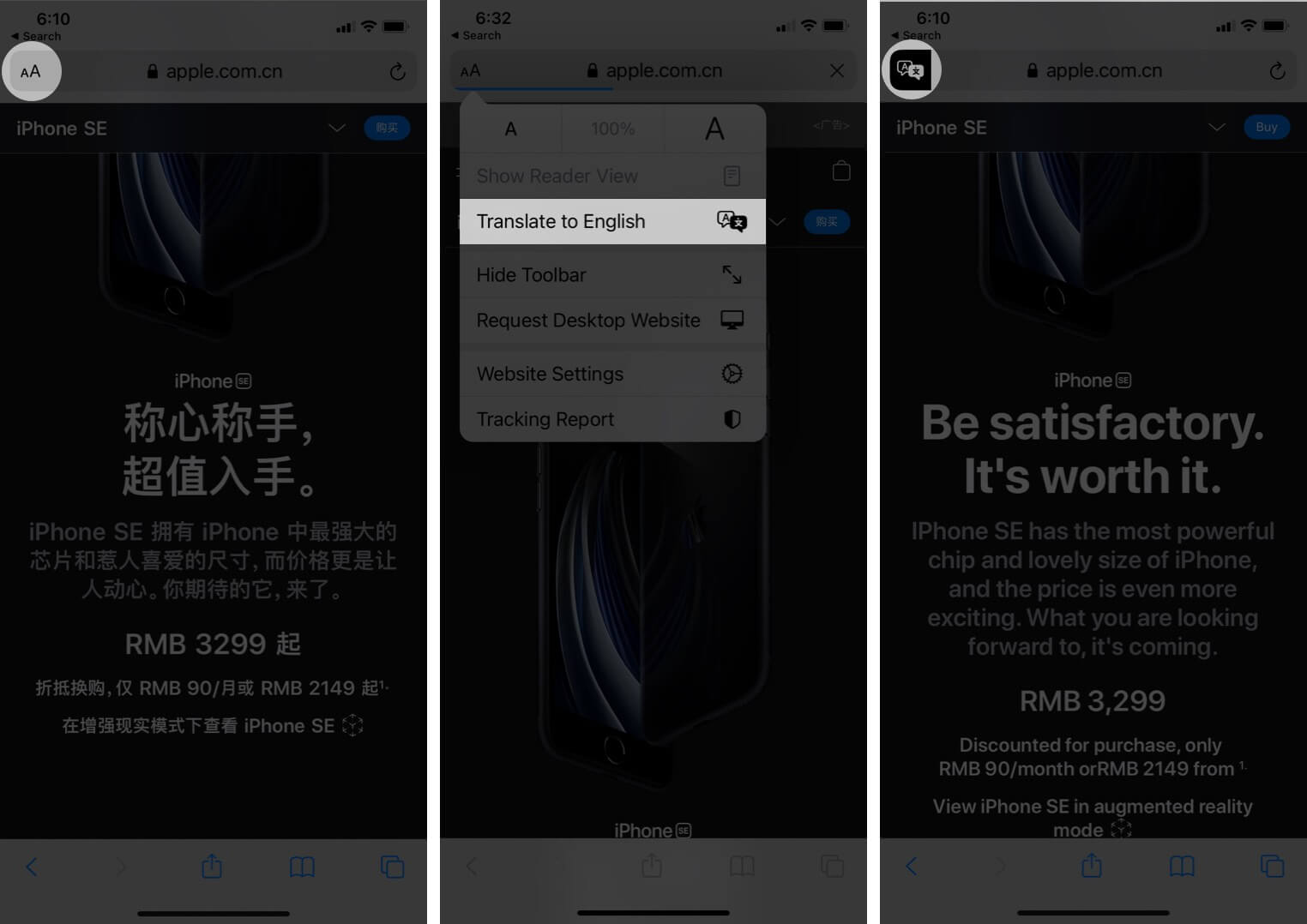 translate webpages in ios 14 safari on iphone