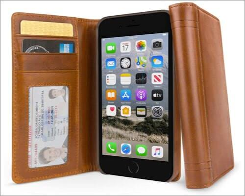 twelve south journal leather folio case for iphone se 2020