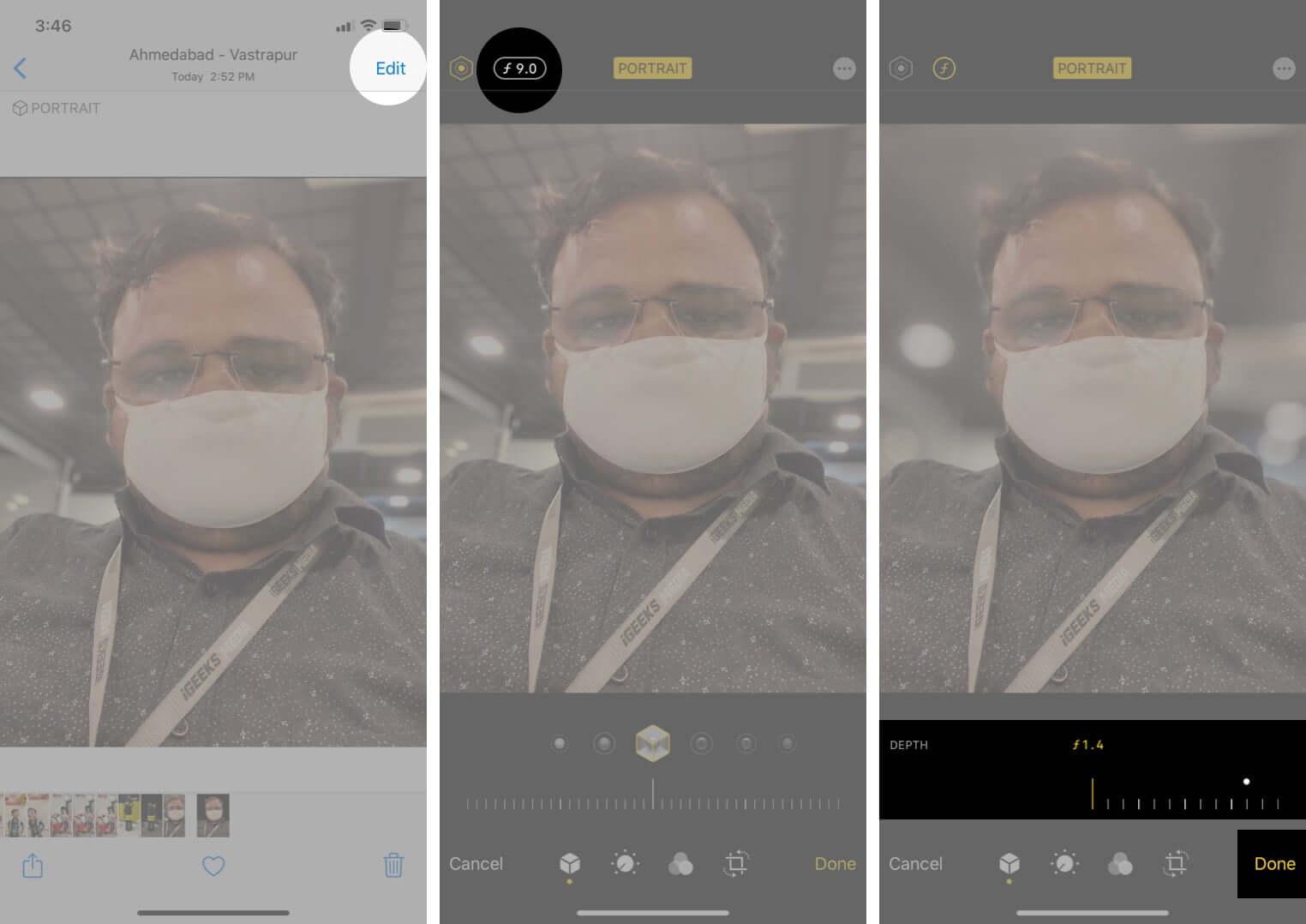 use depth control in portrait mode photo