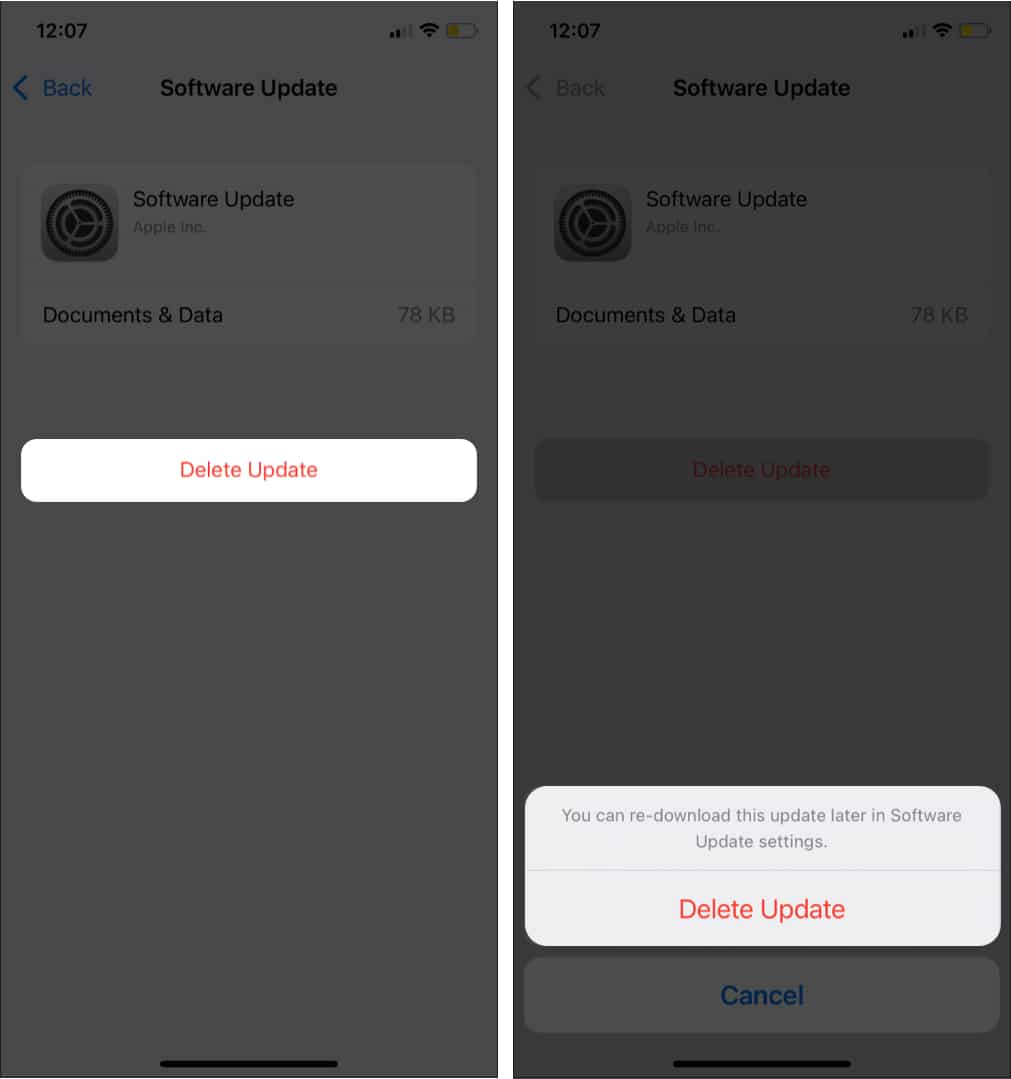 Tap on Delete Update to remove iOS from iPhone