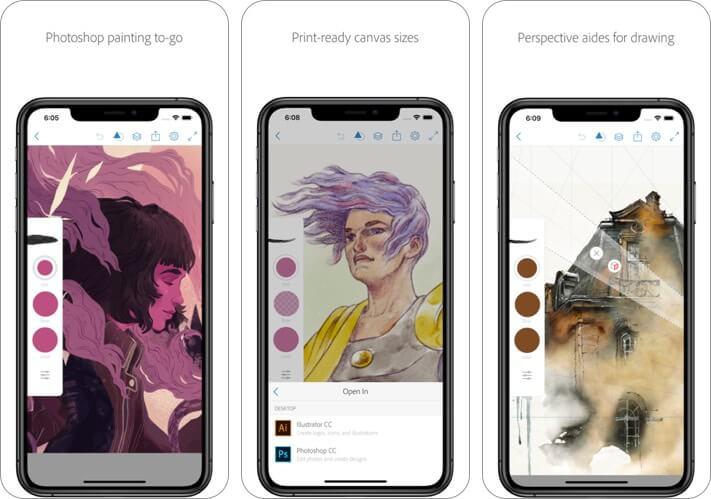 adobe photoshop sketch iphone and ipad app screenshot