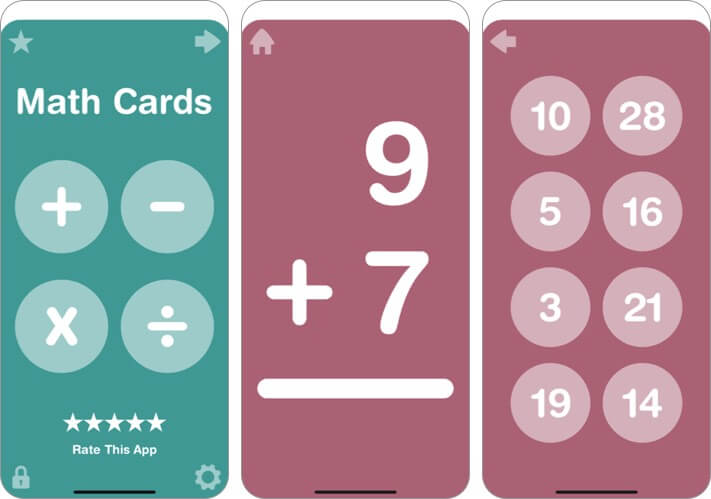 big math flash cards for kids iphone and ipad app screenshot