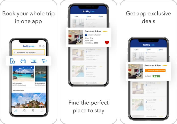 booking iphone and ipad travel planner app screenshot