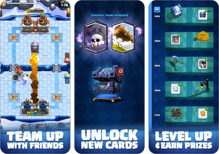 clash royale two player iphone game screenshot