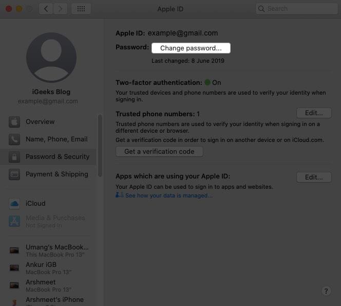 click on change password on mac
