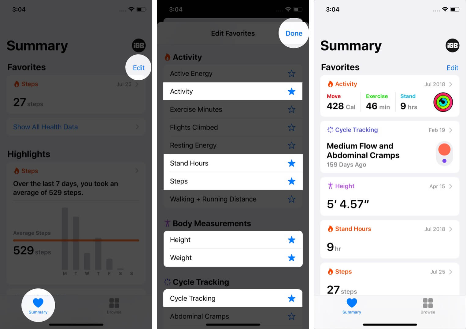 edit favorites to see relevant data at one place on iphone