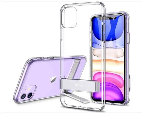 esr metal kickstand designed clear case for iphone 11