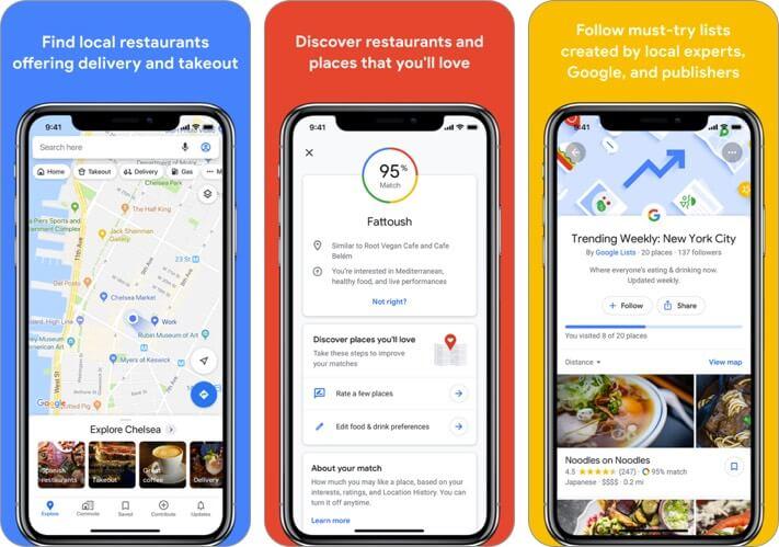 google maps iphone and ipad travel app screenshot