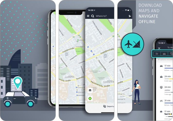 here wego iphone and ipad offline map app screenshot