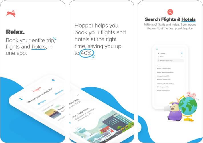 hopper iphone and ipad trip planner app screenshot