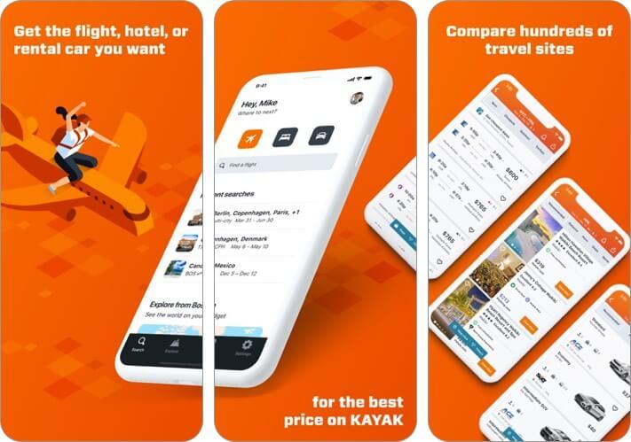 kayak iphone and ipad travel planner app screenshot