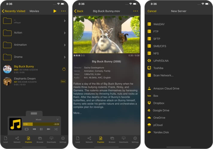 nplayer lite video player iphone and ipad app screenshot