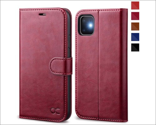 ocase leather folio case for iphone 11