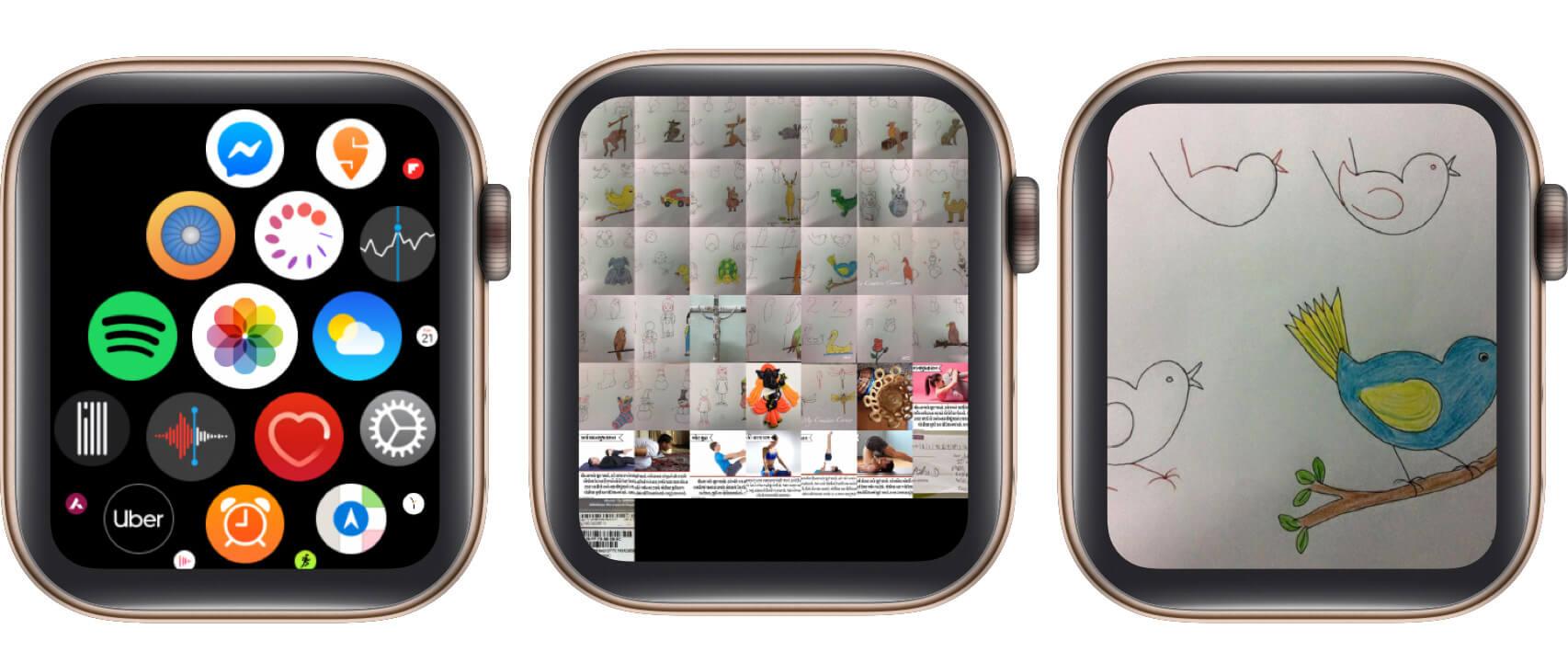 open photos app, tap on photo on apple watch