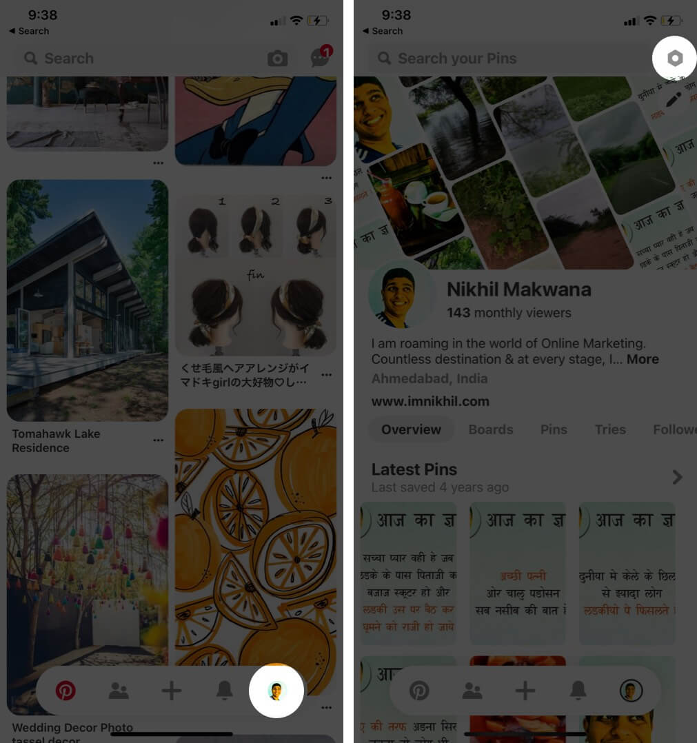 open pinterest app tap on profile and tap on settings on iphone