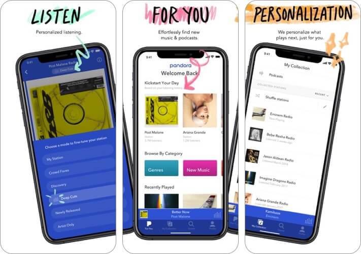 pandora iphone and ipad radio app screenshot