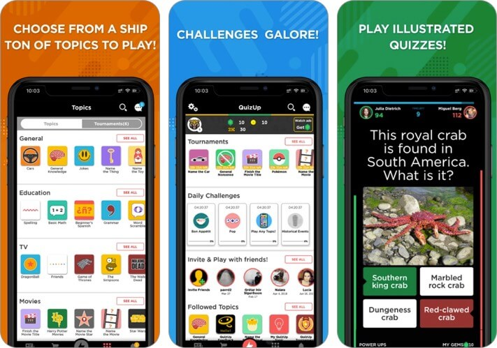 quizup two player iphone game screenshot