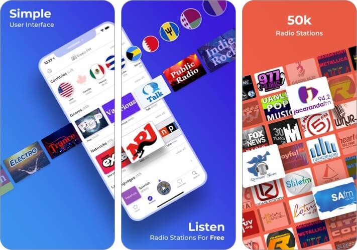 radio fm iphone and ipad app screenshot