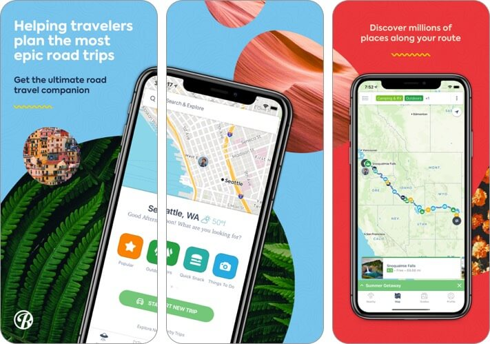 roadtrippers iphone and ipad trip planner app screenshot