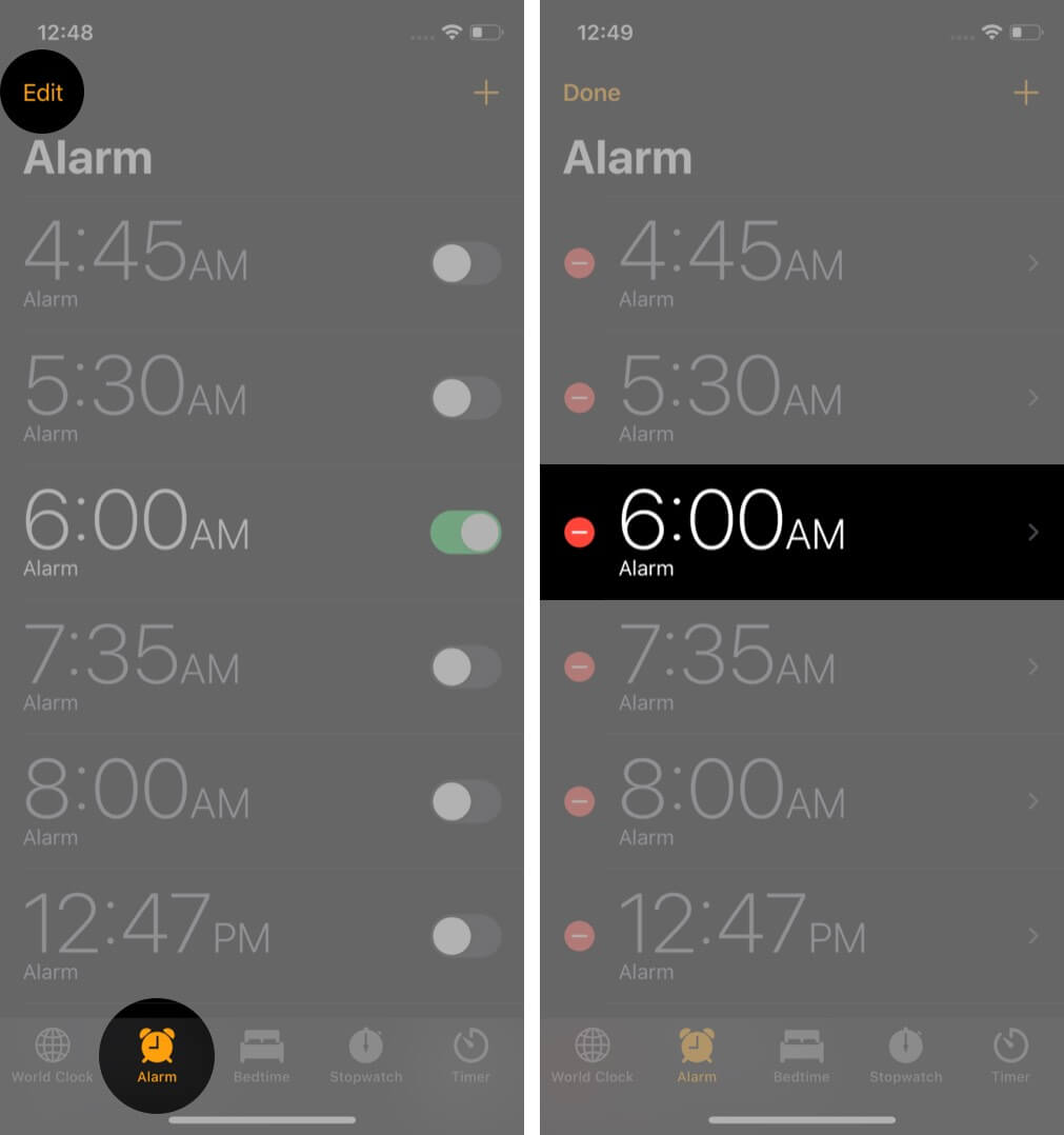 select alarm tap on edit and then tap on desired alarm in clock app on iphone