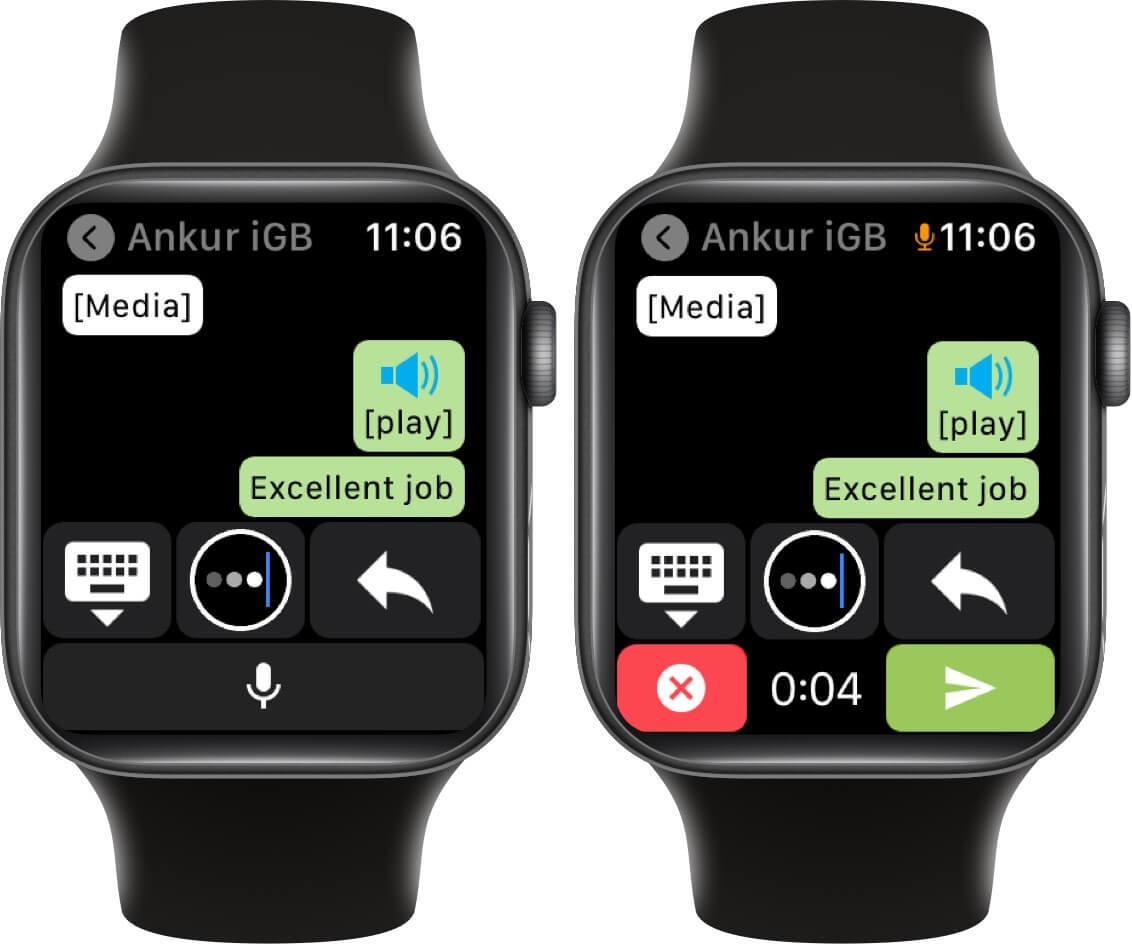 send whatsapp voice message from apple watch