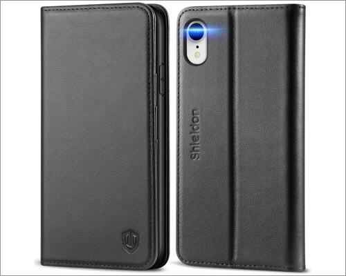 shieldon genuine leather flip case for iphone xr