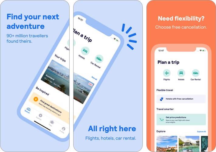 skyscanner trip planner iphone and ipad app screenshot