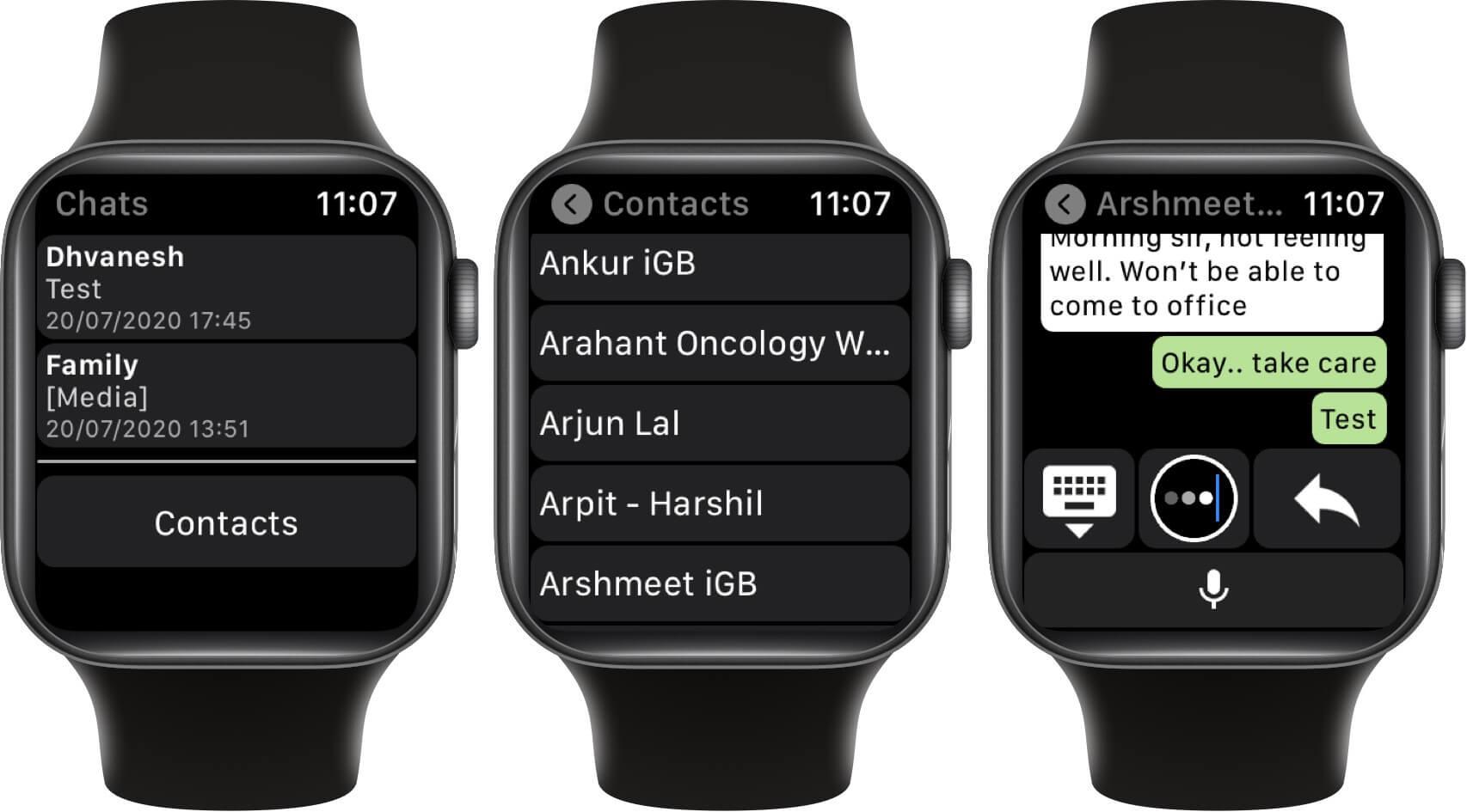 start new whatsapp chat on apple watch