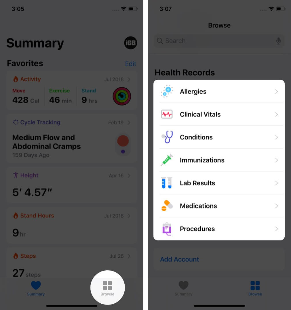 tap on browse and tap on category under health records on iphone