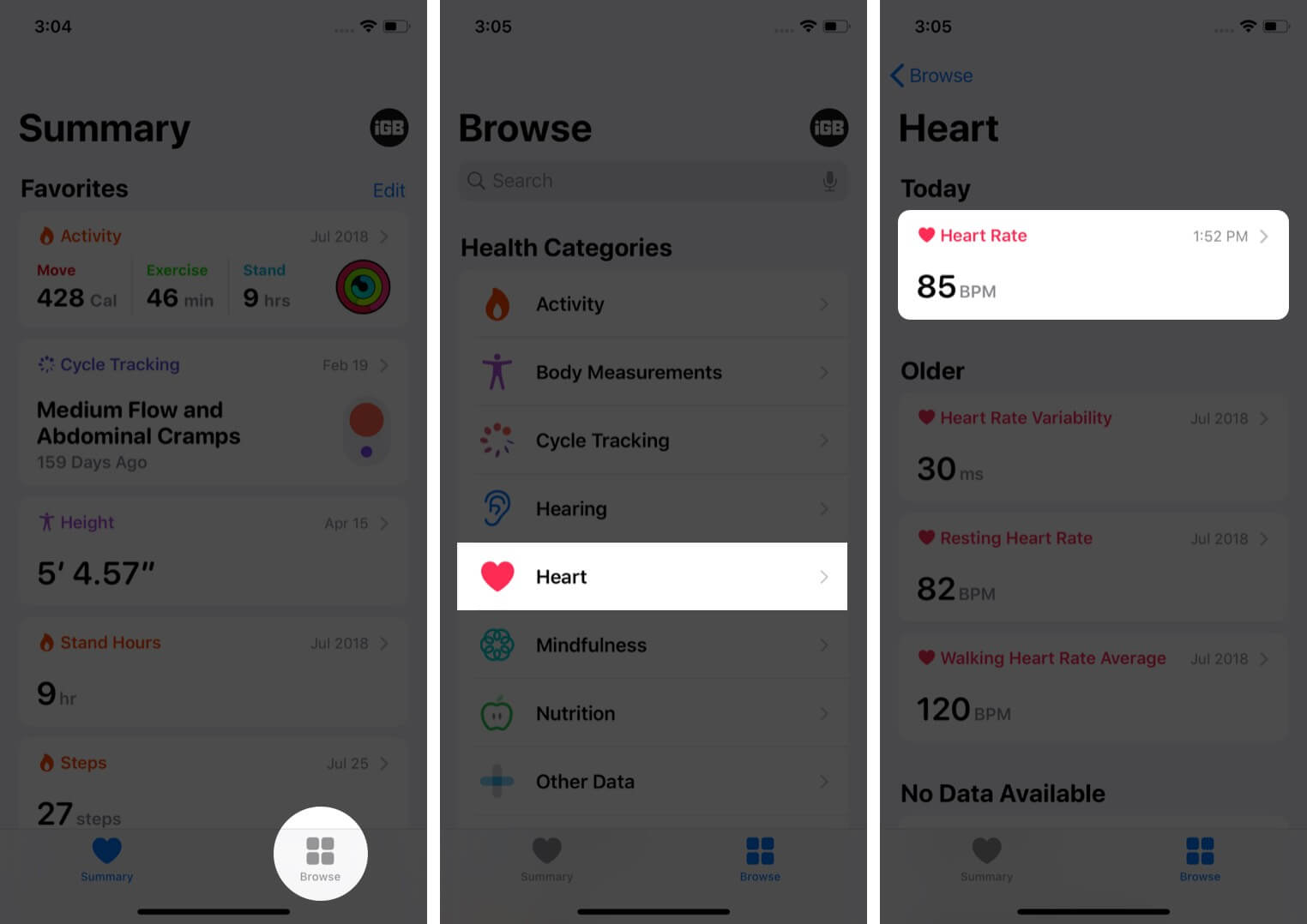 tap on browse tap on category and select sub category in health app on iphone