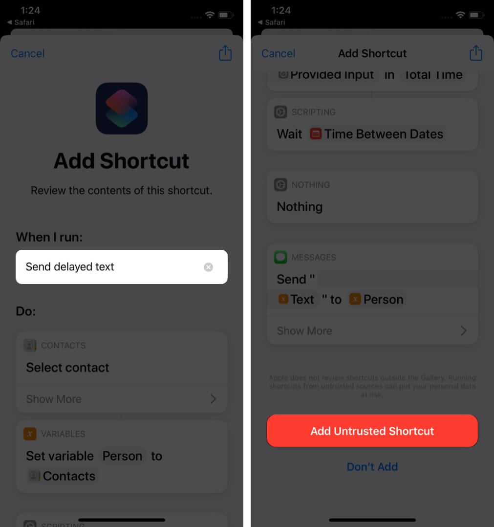 tap on send delayed text and then tap on add untrusted shortcut in shortcuts app on iphone