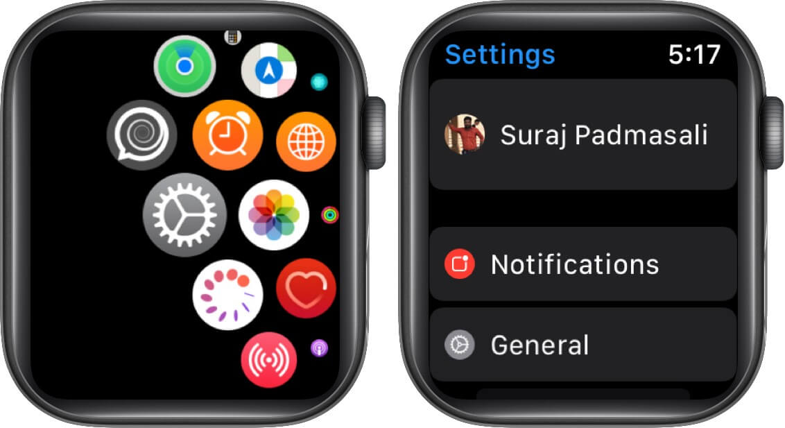 tap settings and then tap general on Apple Watch