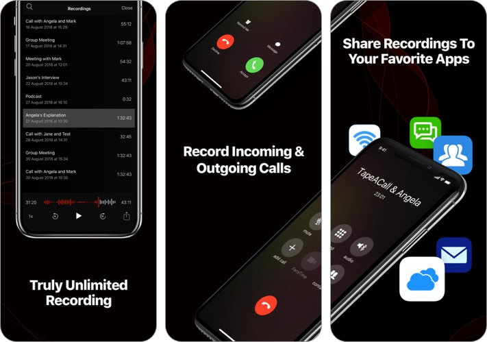 tapeacall call recorder ios app screenshot