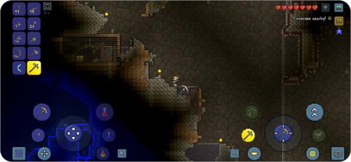 terraria two player iphone game screenshot