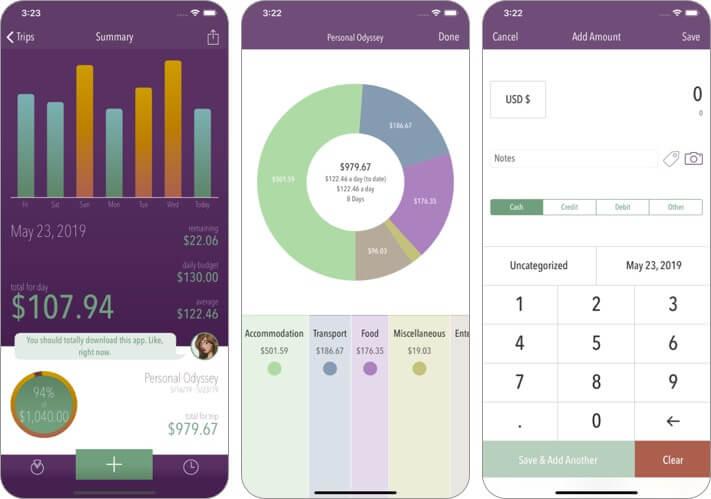 trail wallet iphone and ipad app screenshot