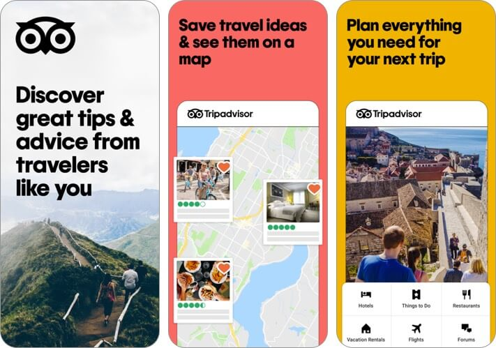 tripadvisor travel planner iphone and ipad app screenshot