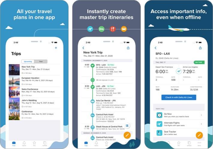 tripit trip planner iphone and ipad app screenshot