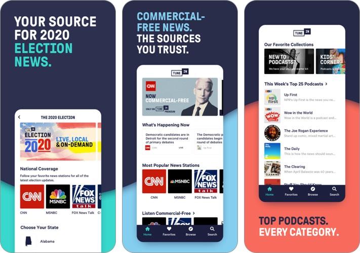 tunein radio iphone and ipad app screenshot
